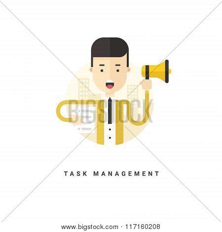Flat Style Vector Conceptual Illustration. Businessman With Speaker. Task Management