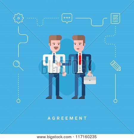 Flat Style Vector Conceptual Illustration. Two Businessmen Conclude Agreement