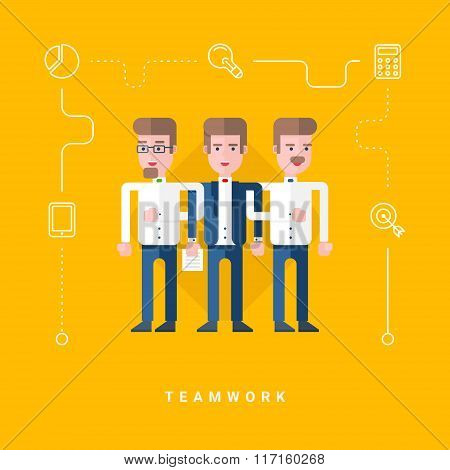 Flat Style Vector Conceptual Illustration. Three Businessmen Holding Each Others Hands