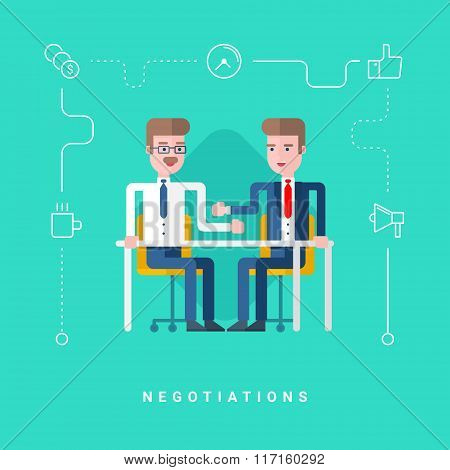 Flat Style Vector Conceptual Illustration. Two Businessmen Negotiate