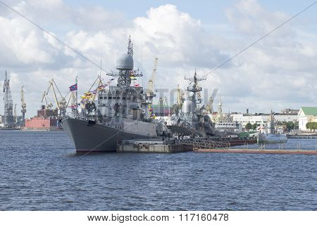 The ships of the Baltic fleet of the Russian Navy in celebration of Navy Day in St. Petersburg
