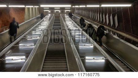 Escalator In The Subway In Stockholm