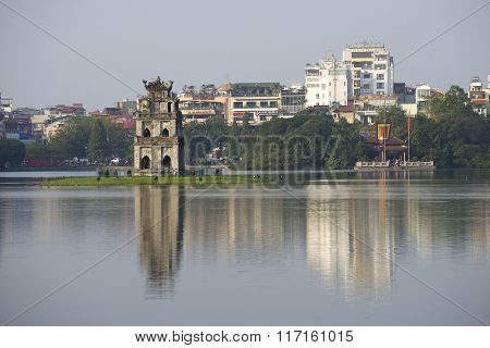 The tower and the temple on the Lake in Central Hanoi, Vietnam