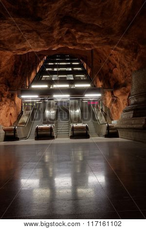 Escalator In The Beautiful Subway Station Radhuset In Stockholm