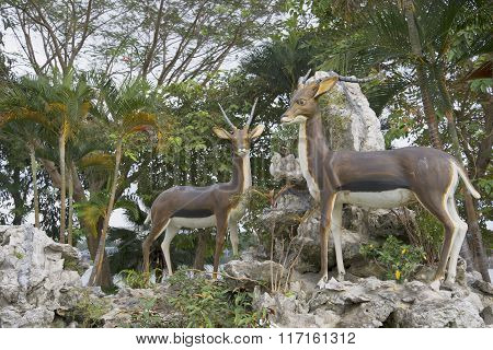 Sculptures of deer in the city Park of hue city. Vietnam