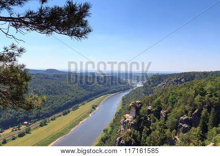 Panorama View To River Elbe From Rocks Bastei In Rathen, Saxon Switzerland