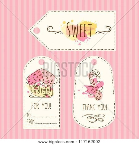 Tags with cookie illustration. Vector hand drawn labels set with watercolor splashes. Sweet vector g