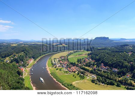 Panorama View From Bastei To River Elbe And Table Mountain Lilienstein And Rathen, Saxon Switzerland