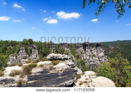 Panorama With Typical Rock Pinnacles At Bastei In Rathen, Saxon Switzerland