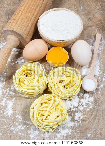Raw Homemade Pasta And Ingredients For Pasta.