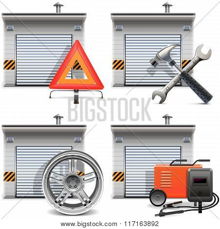 Vector Garage With Spares And Tools