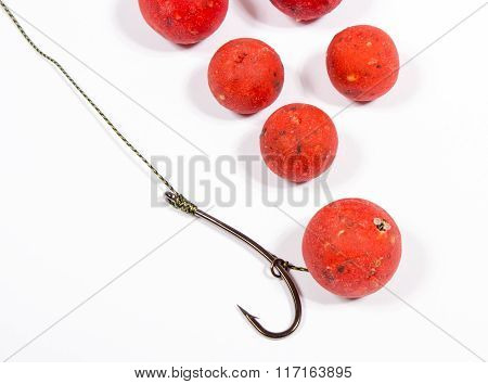 Carp Hook Boilies - Fishing Bait Close Up