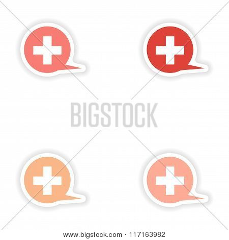 assembly realistic sticker design on paper logo medical care