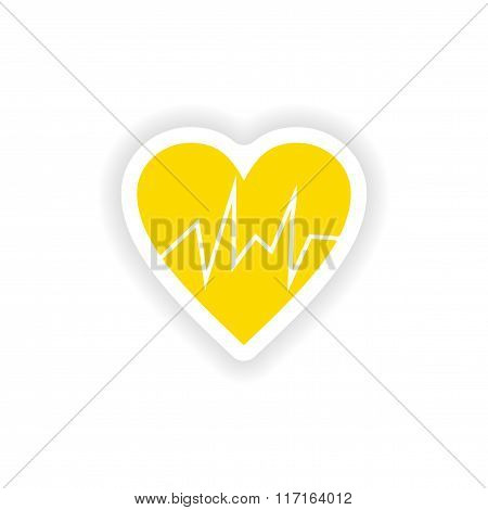icon sticker realistic design on paper logo cardiology