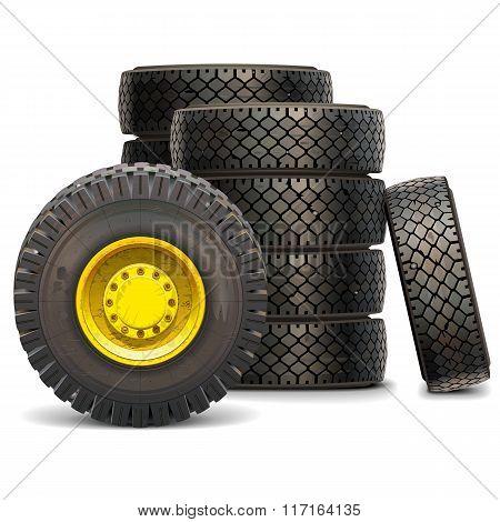 Vector Old Tractor Wheel Set