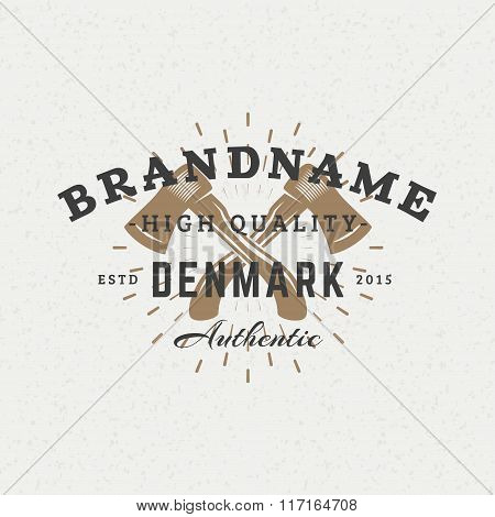 Crossed Axes. Vintage Retro Design Elements For Logotype, Insignia, Badge, Label. Business Sign Temp
