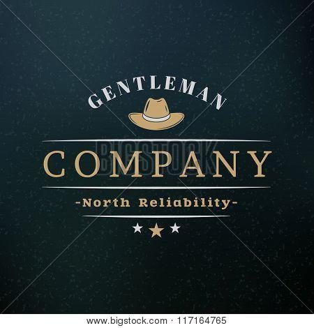 Gentleman Hat. Vintage Retro Design Elements For Logotype, Insignia, Badge, Label. Business Sign Tem