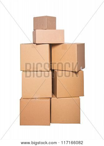 Cardboard boxes on white.