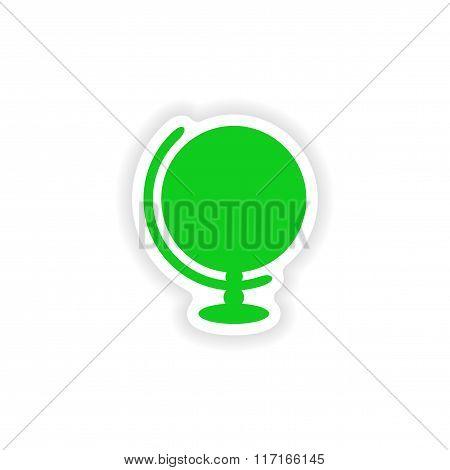 icon sticker realistic design on paper globe