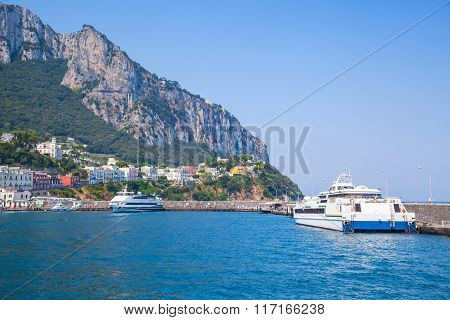 Main Port Of Capri Island, Italy. Passenger Ferries