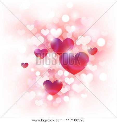 Abstract Background for Valentine's Day with Cute Pink, Red and White Hearts in Front of De-focused Lights