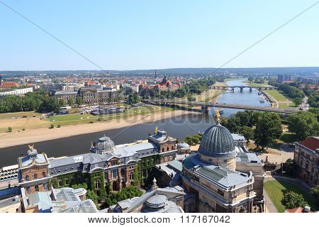 View Of Dresden Cityscape With River Elbe, Bruhl's Terrace, Art Academy And Saxony State Ministry Of