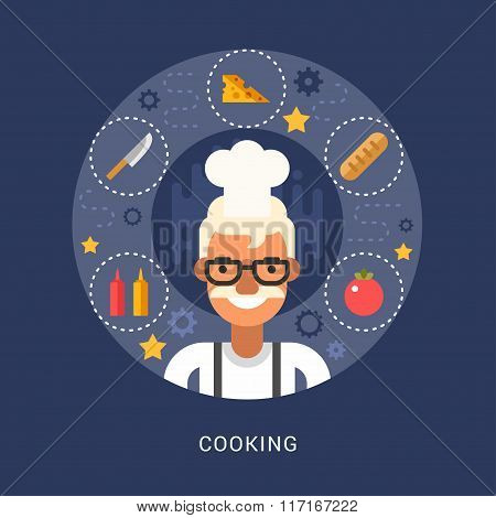 Food Icons And Objects In The Shape Of Circle. Chef. Male Cartoon Character. Vector Illustration In