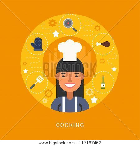 Food Icons And Objects In The Shape Of Circle. Chef. Female Cartoon Character. Vector Illustration I