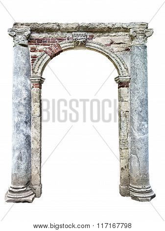 Old Stone Arch Isolated On White Background