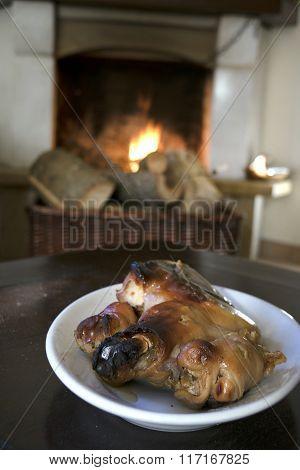 Roast Piglet In Front The Fireside