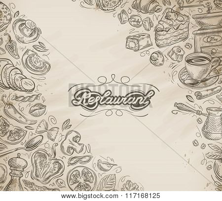 Restaurant, cafe vector menu design template. Hand-drawn food and drinks