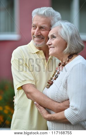 beautiful elderly couple outdoor