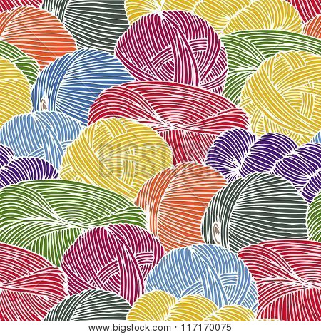Seamless Pattern with Hanks of Yarn