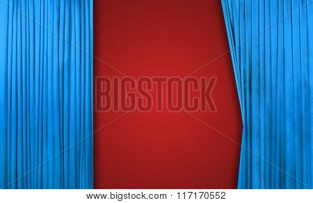 Blue curtain on theater or cinema stage slightly open on red background