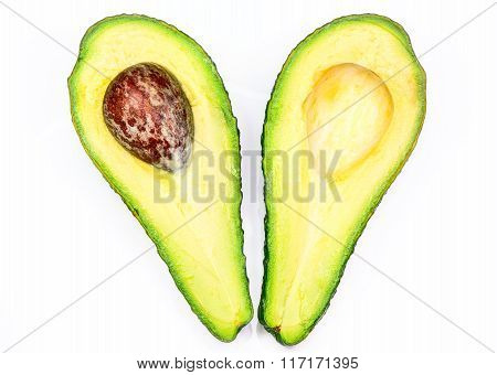 Ripe avocado on the white background