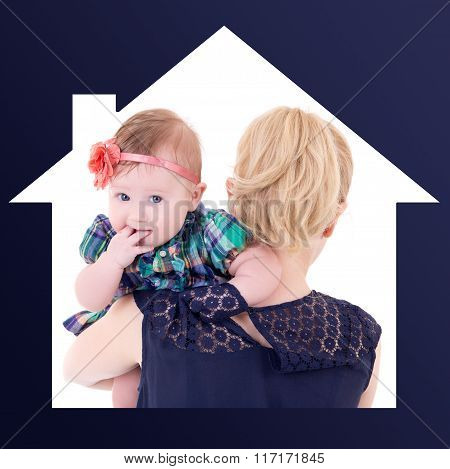 Single Mother Concept - Back View Of Young Woman With Baby In House Frame