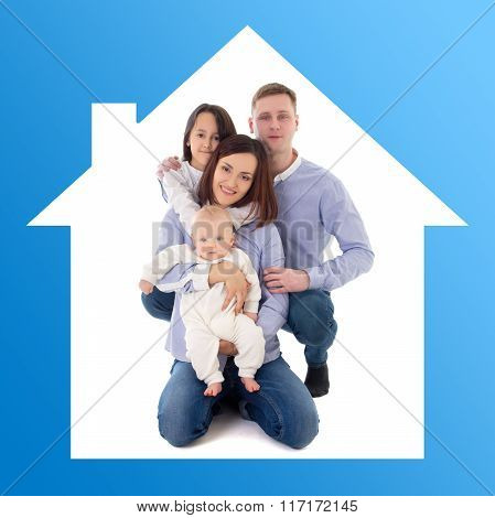 Home Concept - Father, Mother, Daughter And Son In Blue House