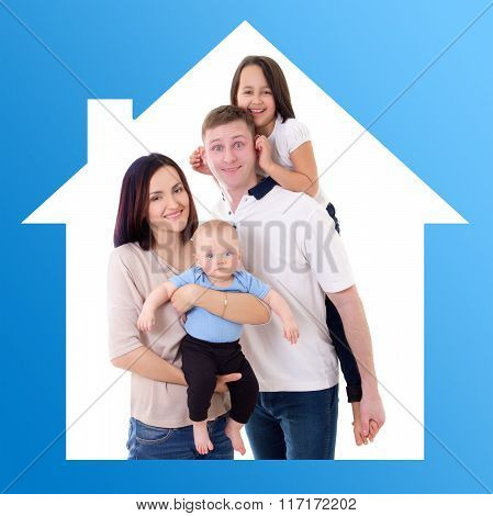 Family And Home Concept - Happy Father, Mother And Two Kids