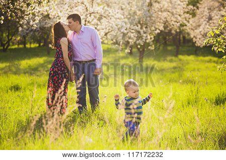 Beautiful Young Family Having Fun In Spring Blooming Garden