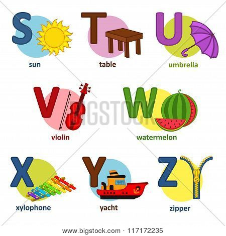 alphabet english from S to Z