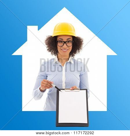 Construction And Real Estate Concept - African American Business Woman In Builder Helmet With Blank