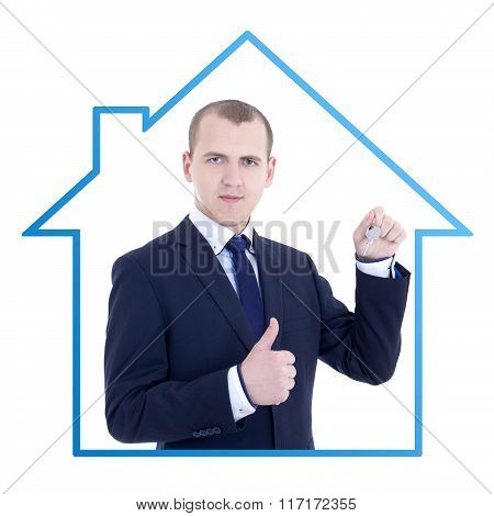 Young Business Man Realtor With Key In Hand Thumbs Up Isolated On White