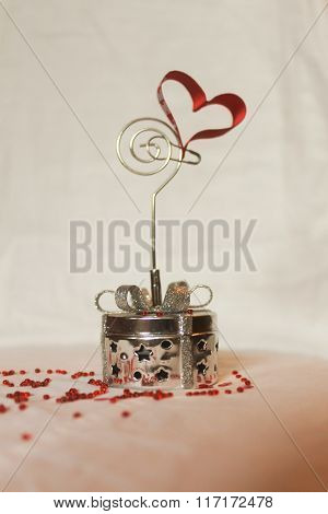 Decorative box decorated with wedding symbols for gifts