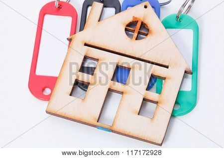 Concept Of Key Fobs And Small Wood House