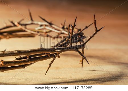 Crown of thorns. Christian concept of suffering.