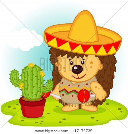 hedgehog and cactus on the Mexican fiesta