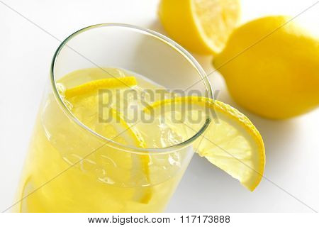 glass of fresh lemon juice with ice - detail
