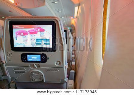 HONG KONG - MARCH 09, 2015: Emirates Airbus A380 aircraft interior. Emirates handles major part of passenger traffic and aircraft movements at the airport.