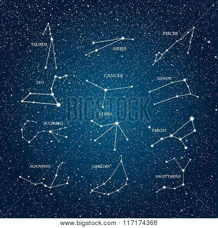 Vector astrological element. Zodiac signs. Horoscope. Eps 10.