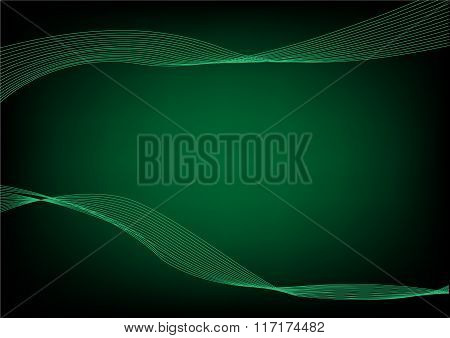 Abstract Green wavelengths and irregular lines on a dark background. Editable Clip Art.